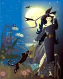 Luna Llena y bruja Imagenes de archivo