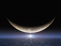 Luna luminosa di sorriso della stella Fotografie Stock Libere da Diritti