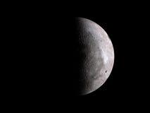 Luna lunare mezza sul nero Fotografia Stock
