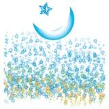 Luna mezza con le bolle e le stelle blu Fotografia Stock Libera da Diritti