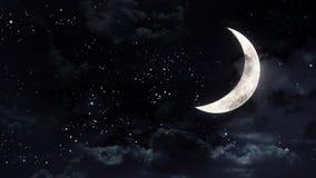 Luna mezza nel cielo notturno Fotografie Stock Libere da Diritti