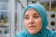 Luna musulmán de la mujer del Islam imágenes de archivo libres de regalías