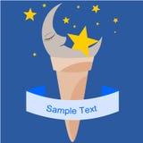 Luna nel cono di gelato Fotografia Stock Libera da Diritti