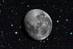 Luna nello spazio Stars il fondo in universo Immagini Stock Libere da Diritti