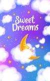 Luna, nuvole e stelle Carta da parati di sogni dolci Fotografia Stock Libera da Diritti
