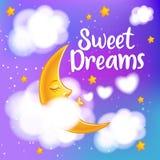 Luna, nuvole e stelle Carta da parati di sogni dolci Immagine Stock Libera da Diritti