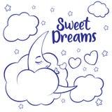 Luna, nuvole e stelle Carta da parati di sogni dolci Fotografia Stock