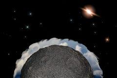 Luna o planeta con tierra como la atmósfera en espacio con las estrellas C imagenes de archivo