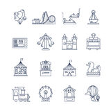 Luna park amusement line vector icons Stock Photo