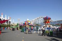 Luna Park Amusement Park Ride - Melbourne. Melbourne, Australia: March 18, 2017: Tourists enjoy the ride at the funfair in Melbourne`s Luna Park. The historic Stock Image