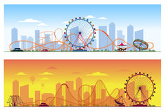 Luna park concept. Amusing entertainment amusement. Luna park concept. Amusing entertainment amusement park colored background vector illustration. Carousel Stock Photos