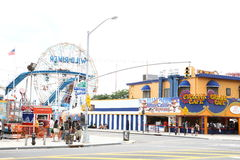 Luna Park in Coney Island. New York. USA. People are relaxing on a day off royalty free stock photography