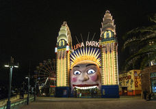 Luna park entrance in sydney australia at night Royalty Free Stock Photo