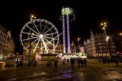 Luna Park i Amsterdam Fördämningfyrkant Arkivfoto