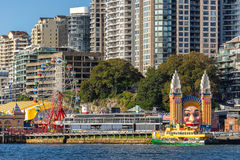 Luna Park in Lavender Bay Sydney. Sydney, Australia on 30th Dec 2015:Luna Park on Lavender Bay is one of two amusement parks in the world that are protected by Stock Images