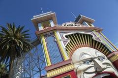 Luna Park Melbourne. Melbourne, Australia: March 13, 2017: Main Gate of Luna Park. Melbourne`s Luna Park is a historic amusement park located on the foreshore of Stock Images