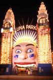 Luna Park at night. The clown face of Sydney's Luna Park entrance, illuminated at night Stock Photography