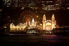 Luna Park Sydney at night. Luna Park amusement park on Sydney Harbour, Australia, at night Stock Photo