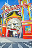 Luna Parkuje parka rozrywki przy St Kilda plażą w Melbourne Fotografia Royalty Free