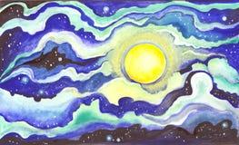Luna piena alla notte Fotografia Stock Libera da Diritti