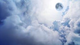 Luna piena in cielo vago di fantasia Fotografia Stock Libera da Diritti