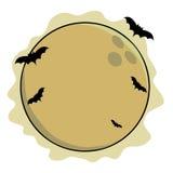 Luna piena con i pipistrelli immagine stock