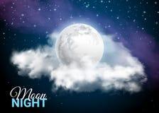Luna piena contro lo sfondo del cielo mistico della Via Lattea Immagine Stock