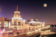 Luna piena di scena di notte Fotografie Stock