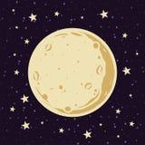 Luna piena e stelle nell'illustrazione di vettore del cielo notturno nello stile del fumetto fotografia stock libera da diritti