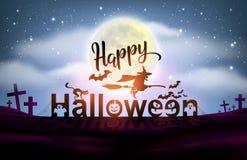 Luna piena felice del fondo di notte di Halloween immagine stock