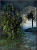 Luna piena in foresta pluviale Fotografia Stock Libera da Diritti