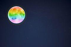 Luna piena nei precedenti stellati del cielo di notte, spazio della copia Immagine Stock Libera da Diritti