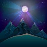 Luna piena porpora sopra il vettore delle montagne Fotografie Stock Libere da Diritti