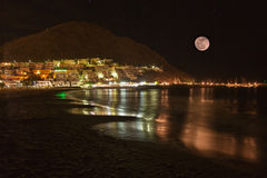 Luna piena sul litorale di San Jose Fotografia Stock