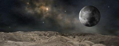 Luna que está en órbita un planeta externo ilustración del vector