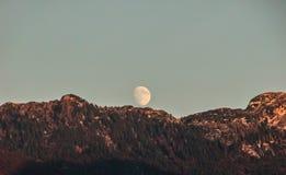 Luna que se levanta sobre las montañas boscosas en la puesta del sol. Fotos de archivo