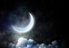 Luna romántica en cielo Fotos de archivo libres de regalías