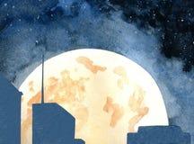 Luna sobre la ciudad stock de ilustración