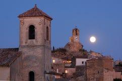 Luna sobre Lourmarin Francia Fotografía de archivo