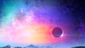 Luna sopra il ciclo della terra di notte illustrazione di stock