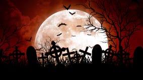 Luna sopra il cimitero in cielo rosso royalty illustrazione gratis