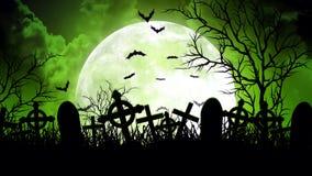 Luna sopra il cimitero in cielo verde illustrazione di stock