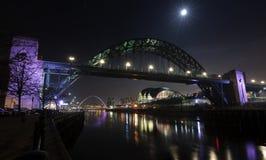 Luna sopra il Tyne Fotografia Stock Libera da Diritti