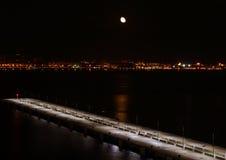 Luna sopra Mallorca Fotografia Stock
