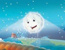 Luna sorridente del fumetto entro la notte con le stelle Fotografia Stock Libera da Diritti