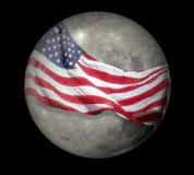 Luna spostata con la bandierina Fotografie Stock Libere da Diritti