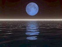 Luna surreale ed acqua Immagine Stock