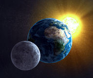 Luna, terra ed il Sun Fotografie Stock Libere da Diritti