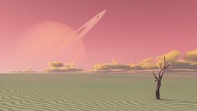 Luna terraformed deserto Fotografie Stock Libere da Diritti