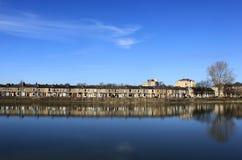 Luna a terrazze del fiume delle case della riva del fiume, Lancaster Fotografia Stock